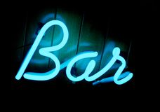 Free Lit Neon Bar Sign Royalty Free Stock Image - 26354816