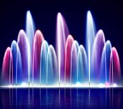 Lit Night Colorful Fountain Realistic Illustration. Lit night colorful fountain from water jets of various size on dark background realistic vector illustration Royalty Free Stock Photo
