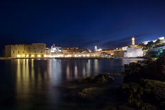 Lit Old Town in Dubrovnik at dusk Stock Photos