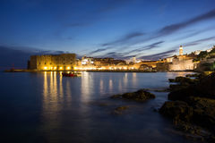 Lit Old Town in Dubrovnik at dusk Royalty Free Stock Photo