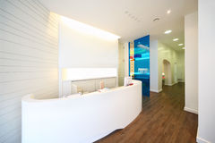 Lit reception area in dental clinic. Royalty Free Stock Photos