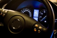 Lit tachometer. A night view from a tachometer royalty free stock photos