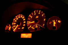 Lit tachometer. At night - from side royalty free stock photography