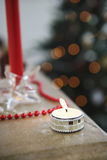 Lit Tealight At Christmas Royalty Free Stock Photos