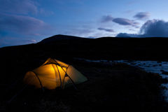 Lit Tent Royalty Free Stock Photos