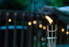 Lit Tiki Torch Foto de Stock Royalty Free