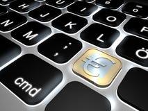 Lit-toetsenbord met de speciale euro sleutel van het muntstukteken Stock Afbeeldingen