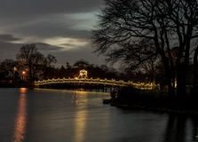 Lit up Bridge. Spring Lake Bridge at Night in early December Royalty Free Stock Image