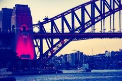 Lit up bridge stock image