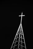 Lit up cross at night Royalty Free Stock Images