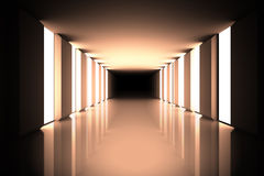 Lit up modern hallway Royalty Free Stock Photo