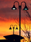 Lit Vertical Lightposts with Sunrise Background Stock Photography