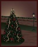 Lit-Weihnachtsbaum Lizenzfreies Stockfoto
