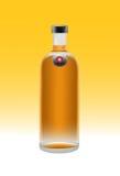 Lit-Wein-Flasche Stockfoto