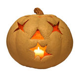 Lit white jack o'lantern isolated on white Royalty Free Stock Images