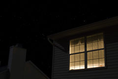 Lit Window Of Building Exterior. At night Stock Photography