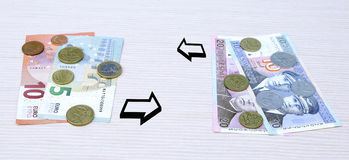 Litas Lits changeover euro exchange 2015 lithuania coins banknotes jan. Uary Stock Image
