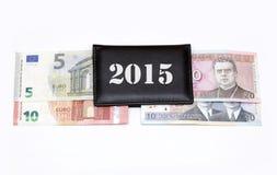 litasLits omschakelings euro uitwisseling 2015 januari van de muntstukkenbankbiljetten van Litouwen Stock Afbeelding