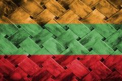 Litauen-Flagge, Flagge auf dem Holz Lizenzfreies Stockfoto