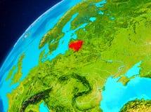 Litauen på jord från utrymme Royaltyfria Bilder