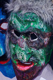2017-02-25 Litauen, Vilnius, Shrovetide, Maske für Karneval, Februar-Karneval, grüne Maskenübelmaske Lizenzfreie Stockbilder