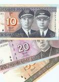 Litauische Banknoten, 10, 20 und 50 litas. Lizenzfreie Stockbilder