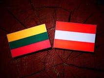 Litauisk flagga med den österrikiska flaggan på en trädstubbe Fotografering för Bildbyråer