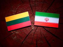 Litauisk flagga med den iranska flaggan på en isolerad trädstubbe Arkivfoton
