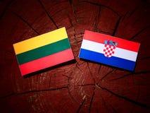 Litauisk flagga med den kroatiska flaggan på en trädstubbe Royaltyfri Foto