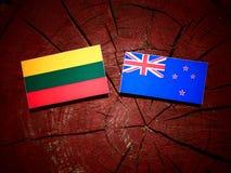 Litauisk flagga med den nyazeeländska flaggan på en isolerad trädstubbe Fotografering för Bildbyråer
