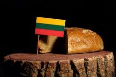 Litauisk flagga på en stubbe med bröd Royaltyfria Bilder