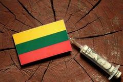 Litauisk flagga på en stubbe med injektionssprutan som injicerar pengar Arkivbilder
