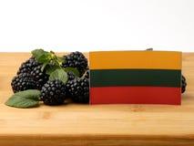 Litauisk flagga på en träpanel med björnbär som isoleras på Arkivfoton