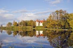 Litauiskt medeltida historiskt slott Birzai Arkivfoton
