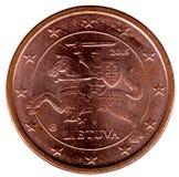 Litauiskt mynt 1 cent Arkivbilder
