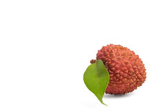 Litchee. Fruit with green leaf Stock Photography