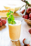 Litchi avec le smoothie de melon Photo libre de droits