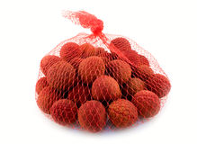 Litchi in a bag Stock Photo