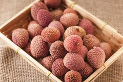 Litchi chinensis in a basket near. Closeup with fruits Lichi of the lychee tree Litchi chinensis on coarse sackcloth fabric in the square basket Stock Images