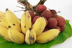 Litchi della banana Fotografie Stock Libere da Diritti