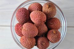 Litchi fruit tasty and healthy. Macro top  view Stock Images
