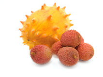 Litchi and Kiwano. Isolated on white background Royalty Free Stock Photography