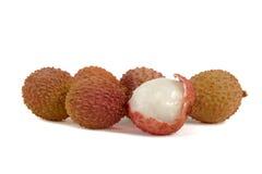 Litchi (Lychee). Group of ripe litchi fruits Stock Photo