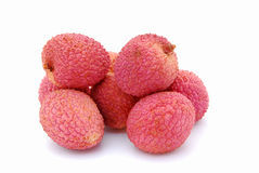 Litchis on white Royalty Free Stock Photos