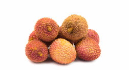 Litchis on white background Stock Photos