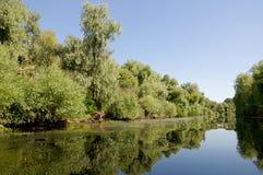 Litcov kanal, Donaudelta, Rumänien Arkivfoto