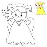Lite ängel med den magiska wanden. stock illustrationer