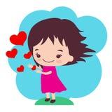 Lite överför flickan förälskelse Arkivbild