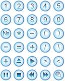 Lite-blaue Web-Ikonen, Tasten Stockbild
