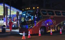 Lite buss för erfarenhet för nordpolen för Amerika hotellflaggstång Arkivbilder